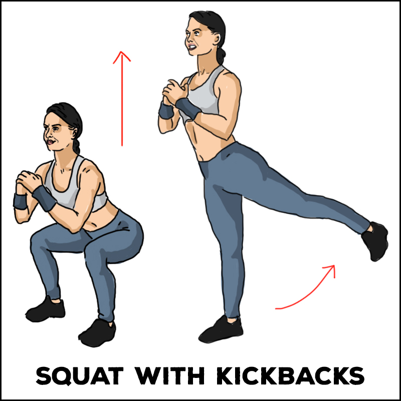 Squat with Kickbacks